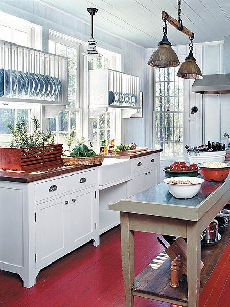 red white and blue kitchen. Never thought about painting the floor RED.