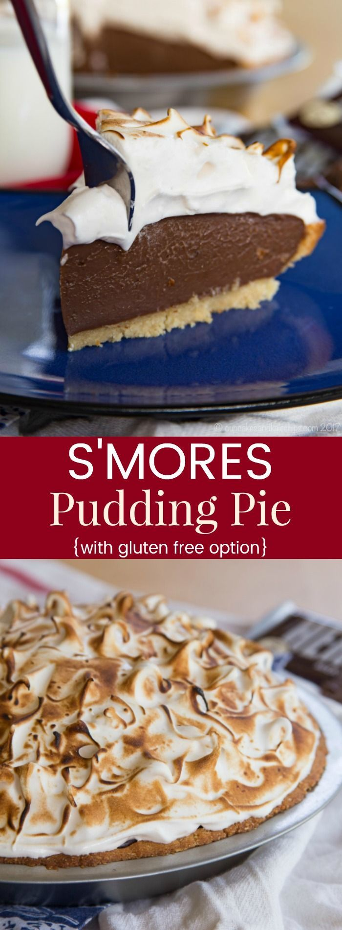 S'Mores Pudding Pie - milk chocolate pudding pie with marshmallow meringue combines two classic dessert recipes. Use a homemade or storebought graham cracker crust, or a gluten-free almond meal crust.