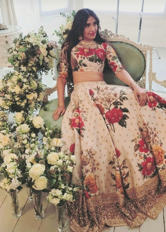 de68d33624 Glamour redefined with this cream silk unstitched lehenga choli featuring  digital print with dori, sequins, embroidered border and pearl work.