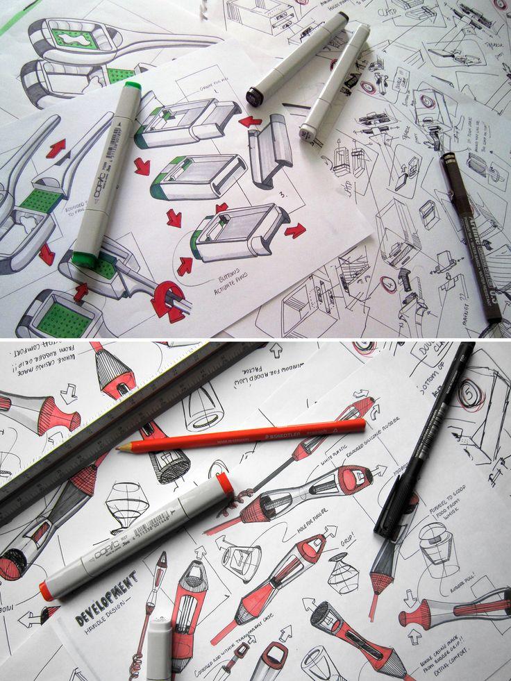 Nice way to show design sketches in a portfolio