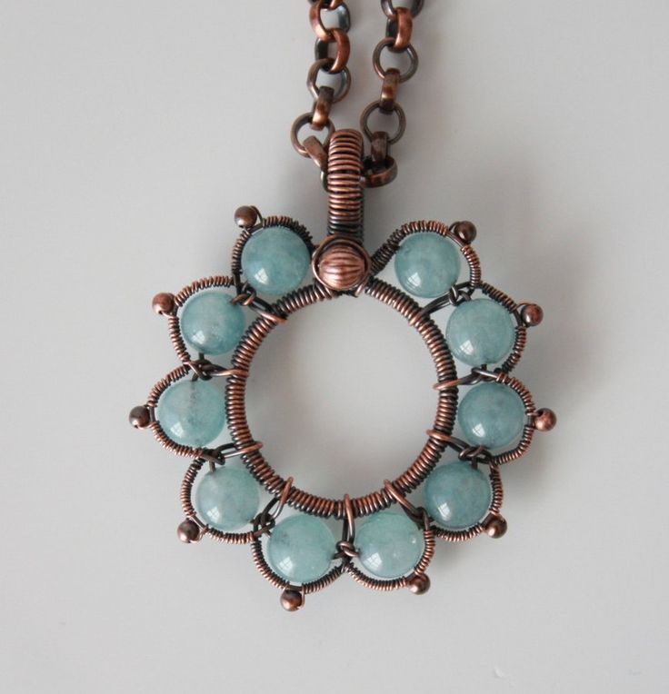 Victorian flower in blue | JewelryLessons.com - 6mm beads, 4mm rolo chain from Rio Grande