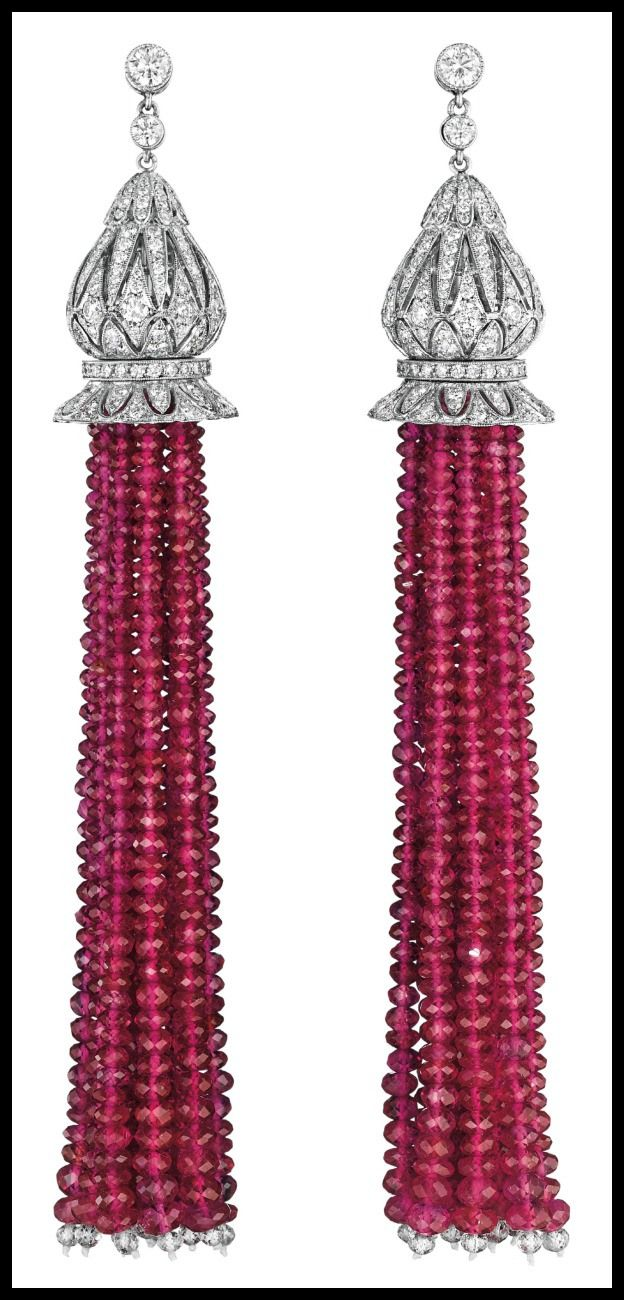 18k-yellow-gold-diamond-ruby-solitaire-ring.html Diamond and Burmese ruby tassel earrings. Via Diamonds in the Library.