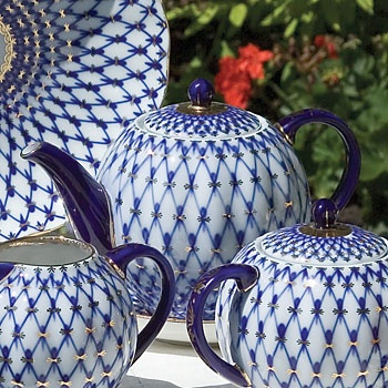 Cobalt net Lomonosov porcelain.  Catherine the Great pattern...Still have it (I hope!):