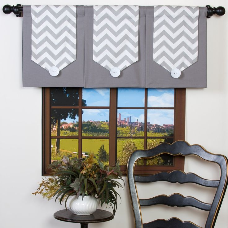 Amazon.com - Chevron Window Valance Gray and White Stripe -