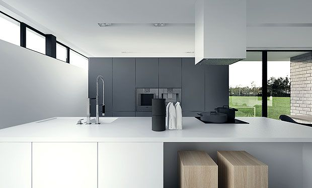 minimalistic white & grey kitchen by tamizo architects