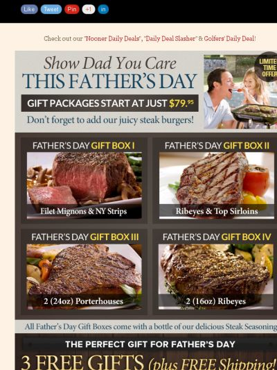 Win daily gift certificates daily until Father's Day from Chicago Steak Company! Steak Specials Offered For Father's Day!