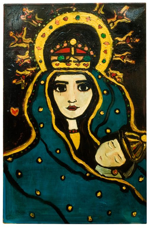 """Harriet Whyatt; Mixed Media, Painting """"madonna and child"""""""