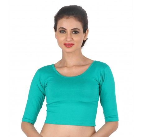 Teal Shimmer Stretchable 3/4 Sleeves Blouse & Crop Top - Stretchable Lycra & Velvet Blouse - Blouses - Saree,Blouse & more