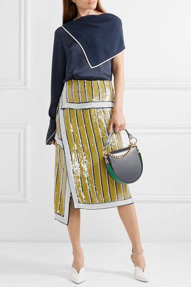Monse - Sequined Silk-chiffon Wrap Skirt - Saffron - US10