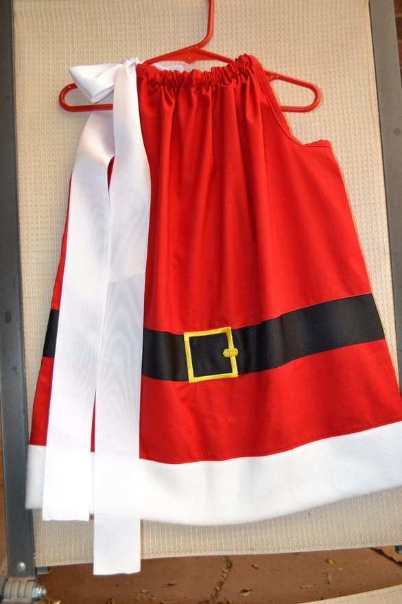 Mrs. Santa Claus Christmas pillowcase dress -- imagine with a white turtleneck and red tights - cute!