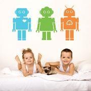 מדבקות קיר - Robots תמצאו כאן ועוד מגוון עצום של מתנות ומוצרי מעצבים באספקה מהירה look.co.il