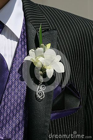 Dressed up in a pinstripe suit, with a purple patterned tie and a floral boutonnière.