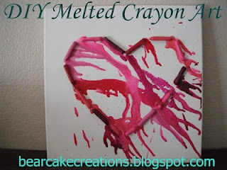 Heart Crayon Art. Check out the easy tutorial or simply buy this at http://www.etsy.com/shop/sarahweston2010