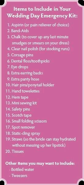Wedding Day Emergency Kit--Good idea for wedding party members to have on hand