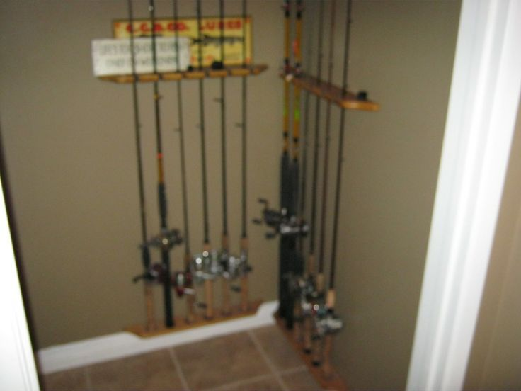 Fishing pole storage fishing poles and storage ideas on for Fishing rod storage ideas
