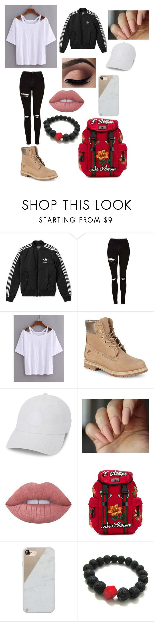 """Free day"" by magali03garcia on Polyvore featuring adidas, Topshop, Timberland, Converse, Lime Crime, Gucci and Native Union"