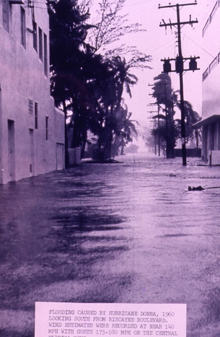 Flooding caused by Hurricane Donna (1960) in Miami, Florida. Credit Miami National Weather Service Office