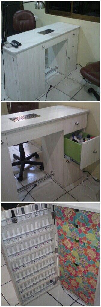 table storage. love the gel polish hidden cupboard