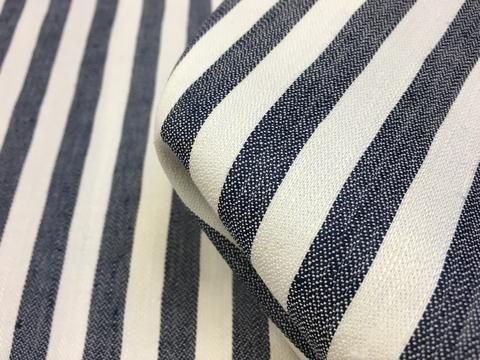 Navy/white striped 45% linen 55% cotton. Width: 150cm Perfect for dresses, tops…