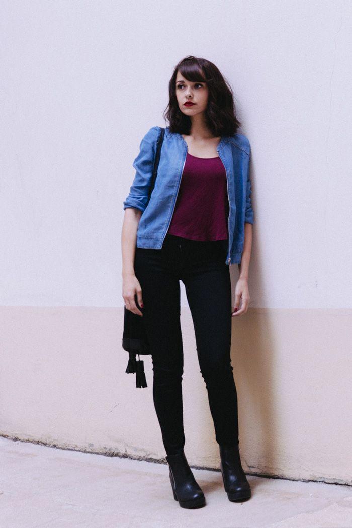 Blogueuse mode Paris influenceuse Dollyjessy look comment porter le bomber en jean - Slim noir Salsa Bomber en jean grain de malice