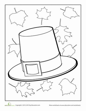 pilgrim hat coloring page pilgrim worksheets and thanksgiving. Black Bedroom Furniture Sets. Home Design Ideas