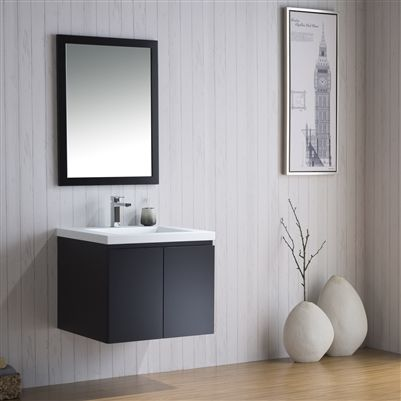 Vanity Adams 25 - Infinity Sink from Inolav. This bathroom vanity is perfect for elevating your half bathroom into a tranquil space. It's floating design frees up the floor space and helps make the room appear bigger. #bathroomdesign