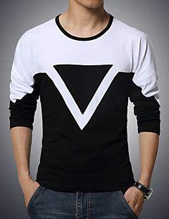 Masculino Camiseta Algodão / Elastano Cor Solida Manga Comprida Casual / Esporte / Tamanhos Grandes-Preto / Branco