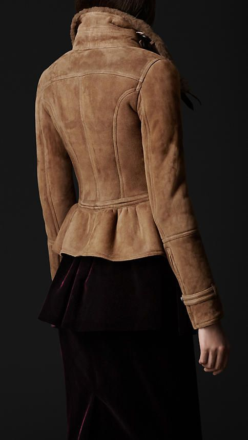 love love love the back of this one!!!!  Sueded Shearling Military Jacket | Burberry