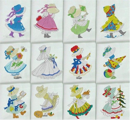 Calendar Embroidery Design : Embroidered quilt blocks months of the year sunbonnet sue