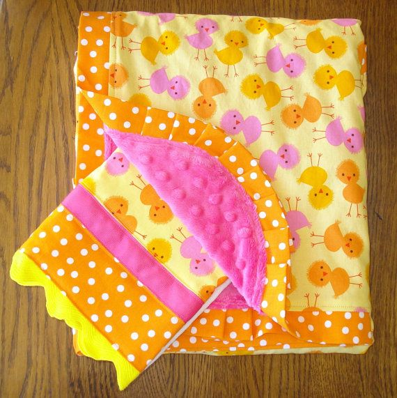 New...Urban Zoology Chick Yellow and Pink Blanket and Burp Cloth