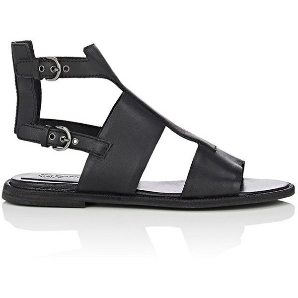 Jil Sander Navy Women's Leather Gladiator Sandals ($179) ❤ liked on Polyvore featuring shoes, sandals, black, black flats, black leather sandals, black leather flats, gladiator sandal and open toe sandals