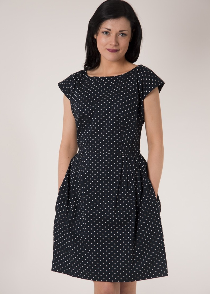 Megan navy spot dress