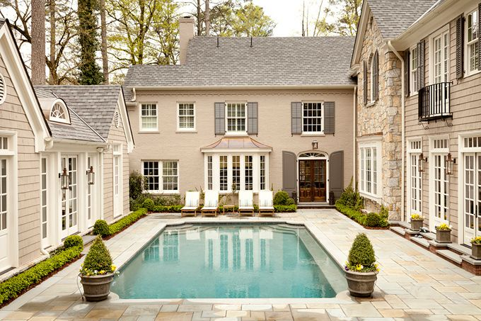 House of Turquoise: Tillman Long Interiors - I like the colors on the exterior of the house - and the pool!