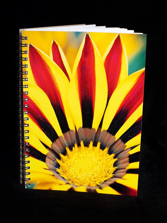 Striped Daisy Notebook  A5 size 90 blank pages by ErinnaImagery, $15.00