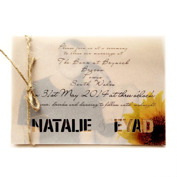 sunflower wedding invitations printable%0A Rustic Sunflower wedding invitation and RSVP set by AnnsPaperie