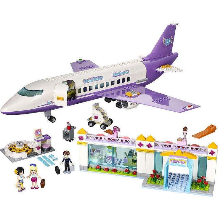 Jet off on an exciting vacation with Heartlake Airlines! Help Stephanie check in her luggage at the LEGO® Friends Airport and place it on the turning carousel while flight attendant Sandra gives her the boarding pass. Then head to the duty free store to buy some perfume and go upstairs to the cafeteria while you wait for the flight to be called. Then it's time to board the big plane! Place the rolling staircase at the airplane door and help Stephanie find her reclining seat while the lug...