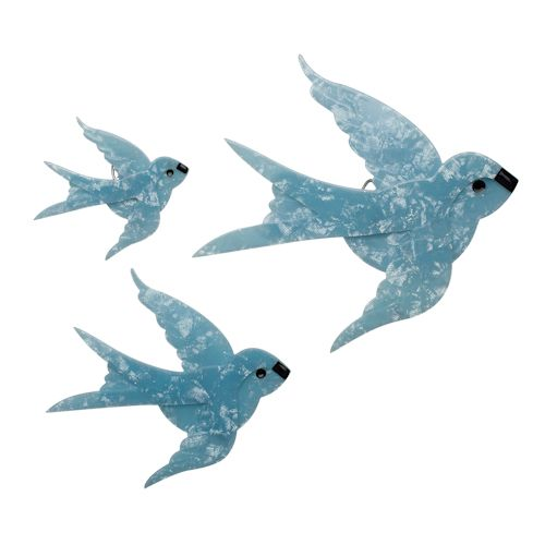 Limited edition, original Erstwilder Flying Bluebirds wall decor in blue. Designed by Louisa Camille Melbourne. Buy now
