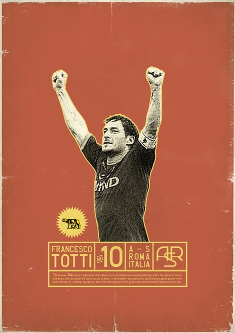 As Roma Nel Cuore Totti: Zoran Lucić shows all its love for the round ball. Around graphic designs on the biggest players of the history of football, the Bosnian artist manages to emphasize these sportsmen of passed and the present. Daje Roma Daje!