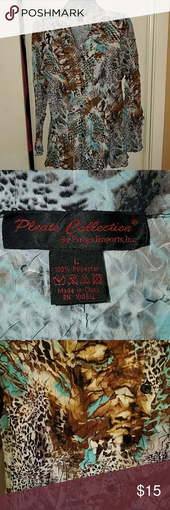 Long-sleeve Swing Top Animal print body with sheerer sleeve. Button down. Excellent condition. Tops Blouses