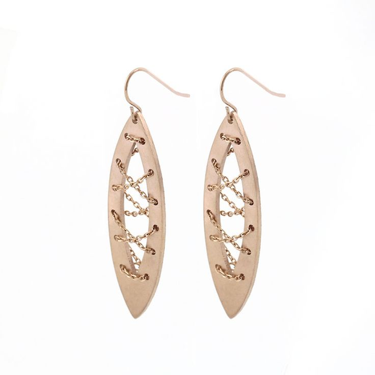 Stainless Steel Rose Gold Leaf Earrings. Eye-catching, these are the perfect rose gold earrings for women! It is made of 316L stainless steel leafs and hooks. Beautifully laser cutting leaf shaped design with delicate chains in these earrings. The leaf charm measures 55mm×17mm. Custom made PVD plating color, available in 18k gold, rose gold.  Thanks for