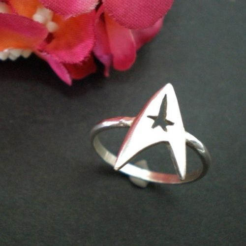 925 silver star trek ring command insignia ring geek ring sizable 14 in jewelry watches fashion jewelry rings ebay - Star Trek Wedding Ring