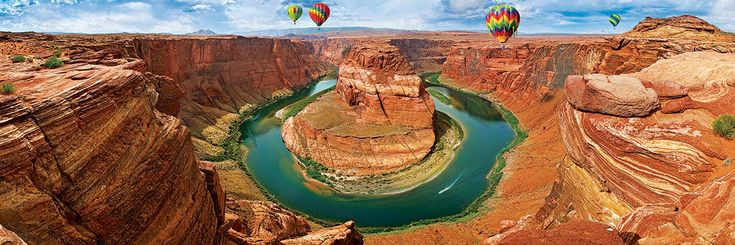"""Horseshoe Bend Arizona Panoramic 1000-Piece Puzzle. A truly breathtaking view of nature in all its glory, as the Colorado river winds its path through the canyon. Finished Puzzle Size: 13"""" x 38""""."""
