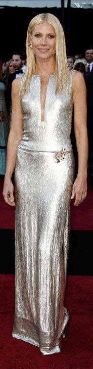 Red Carpet fashion dress / Gwyneth paltrow in a metallic Calvin Klein Collection gown, Brian Atwood pumps and Louis Vuitton jewelry