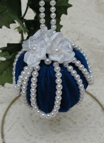 Handmade-Christmas-Tree-Ornament-Blue-Velvet-with-Pearls-Satin-Flowers