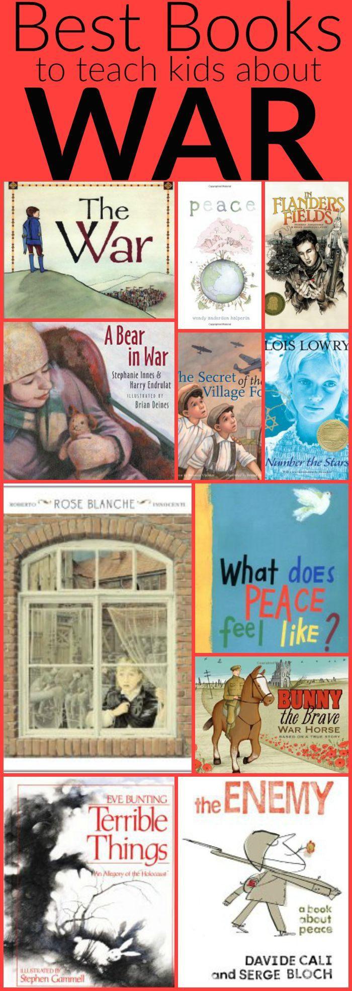 An amazing list of powerful kids books to teach kids about peace, war and remembrance. Perfect for Veteran's Day or Remembrance Day! {ThisLibraryLove}
