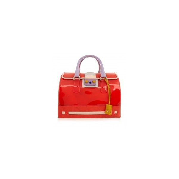 Furla Candy Coral Red Cartoon Medium Bag ($220) ❤ liked on Polyvore featuring bags, handbags, multi colored purses, furla purses, furla handbags, colorful purses and multi coloured handbags