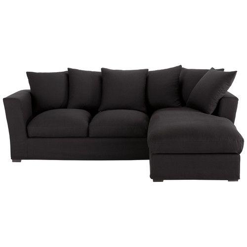Canapé angle 5 places convertible (méridienne droite) coton noir