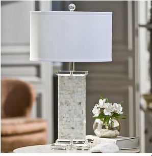 Regina Andrew Crystal Mother of Pearl column lamp - Designer Fabric Outlet