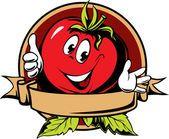 Etiqueta de dibujos animados de tomate redondo Vectores De Stock Sin Royalties Gratis