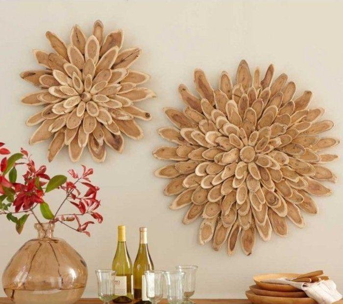 Wanddeko Wohnzimmer Holz Ideen